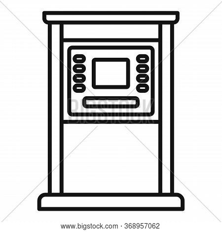 Atm Monitor Screen Icon. Outline Atm Monitor Screen Vector Icon For Web Design Isolated On White Bac