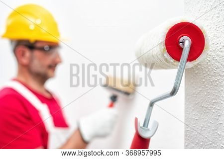 House Painter, Roller For Painting. Building.