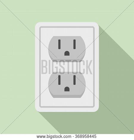 Double Power Socket Icon. Flat Illustration Of Double Power Socket Vector Icon For Web Design