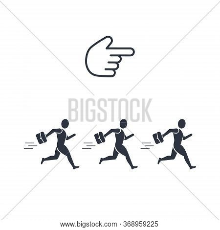 Working People Run In The Direction Of The Finger Of The Hand. Concept Of Power Over Workers