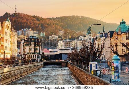 Karlovy Vary, Czech Republic - April, 2018: Houses In City Center Of Karlovy Vary On The Tepla River