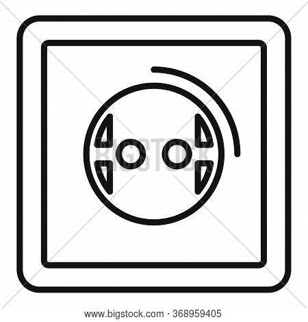 European Power Socket Icon. Outline European Power Socket Vector Icon For Web Design Isolated On Whi