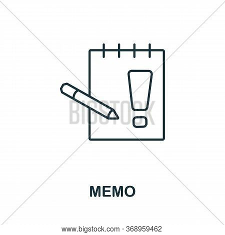 Memo Icon From Planing Collection. Simple Line Memo Icon For Templates, Web Design And Infographics