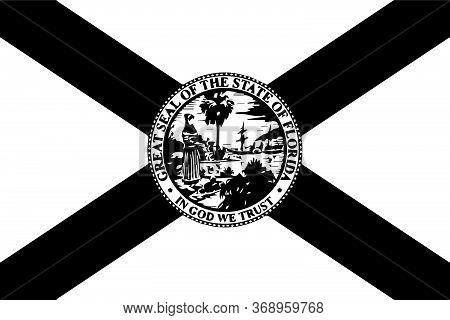 Florida Fl State Flag. America. Black And White Eps Vector File.