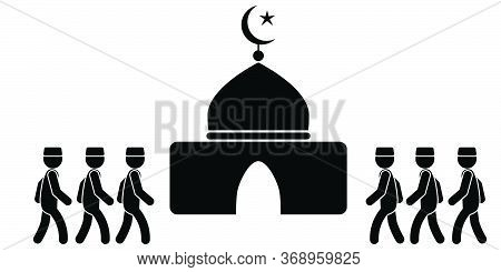 Muslim Going To Mosque. Black And White Pictogram Depicting Muslims Attending Mosque. Vector File