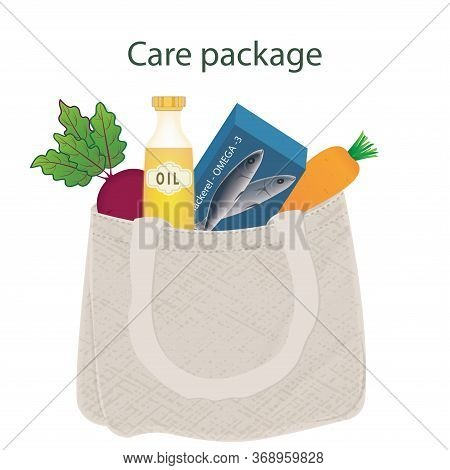 Canvas Bag With Products - Mackerel Fish, Oil Bottle, Beets, Carrots - Vector. Care Package Idea. Qu