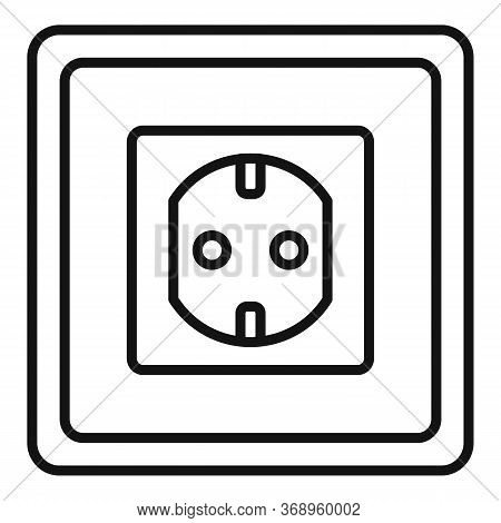 Type F Power Socket Icon. Outline Type F Power Socket Vector Icon For Web Design Isolated On White B