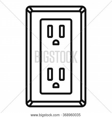 Double Type B Power Socket Icon. Outline Double Type B Power Socket Vector Icon For Web Design Isola