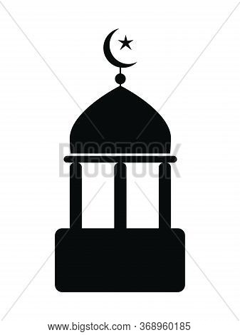 Mosque Icon With Crescent And Star. Black And White Pictogram Depicting Simple Islamic Mosque Place