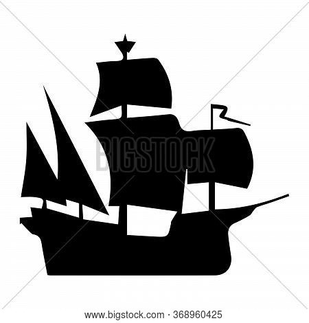 Sail Ship. Black And White Pictogram Icon Of A Sail Ship. Eps Vector