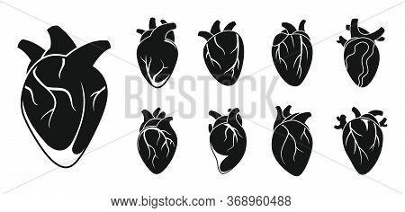 Human Heart Cardiac Icons Set. Simple Set Of Human Heart Cardiac Vector Icons For Web Design On Whit