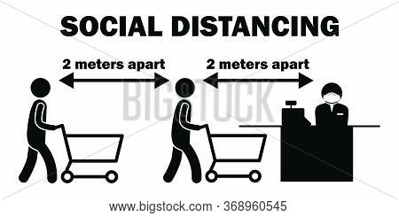 Social Distancing 2 Meters Apart Cashier Line Stick Figure. Black And White Pictogram Depicting Two