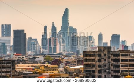 Cityscape Of Bangkok, Thailand At Colorful Sunset As Seen From Golden Mount Temple