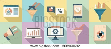 Conversion Rate Icons Set. Flat Set Of Conversion Rate Vector Icons For Web Design