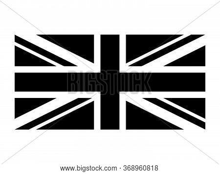 United Kingdom Flag Union Jack. Uk Flag Black And White. Country National Emblem Banner. Monochrome