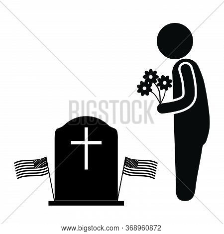 Visit Grave With Flowers During Memorial Day. Black And White Pictogram Depicting Man Stick Figure B