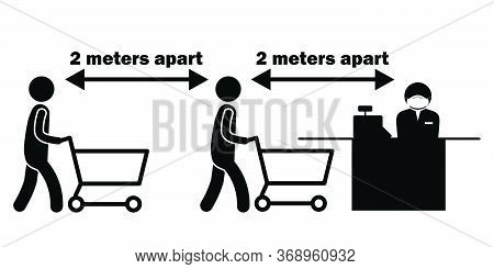 Social Distancing 2 Meters M Apart Stick Figure With Cart Trolley At Checkout Counter Cashier. Vecto