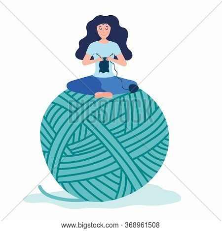 Happy Tiny Creative Woman Knitting And Sitting On Giant Yarn Tangle. Hobby Courses Or Workshops For