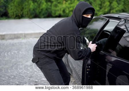 Car Thief Steal Car Breaking Door Criminal Job Burglar Hijacks Auto Thief Black Balaclava Hoodie Try