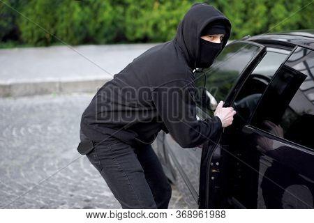 Car Thief Steal Car Breaking Door Criminal Job Burglar Hijacks Auto Thief Black Balaclava Hoodie Try