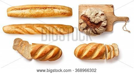 Bread And Bakery Products Isolated On White. Set Of Bread: Baguette, Rustic Bread.