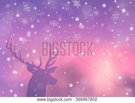 Winter Holiday Concept. Christmas Background With Deer And Winter Snowy Landscape. New Year Greeting