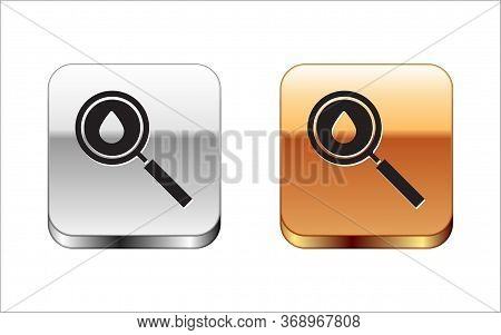 Black Oil Drop Icon Isolated On White Background. Geological Exploration, Geology Research. Silver-g