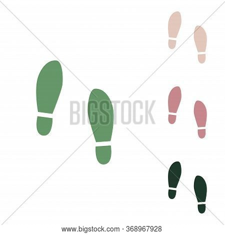Imprint Soles Shoes Sign. Russian Green Icon With Small Jungle Green, Puce And Desert Sand Ones On W