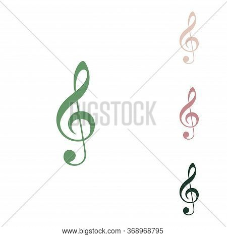 Music Violin Clef Sign. G-clef. Treble Clef. Russian Green Icon With Small Jungle Green, Puce And De