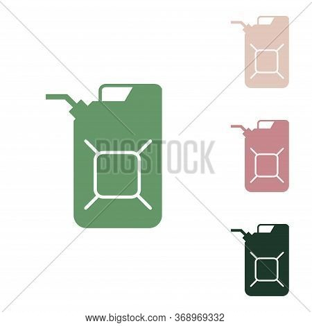Jerrycan Oil Sign. Jerry Can Oil Sign. Russian Green Icon With Small Jungle Green, Puce And Desert S
