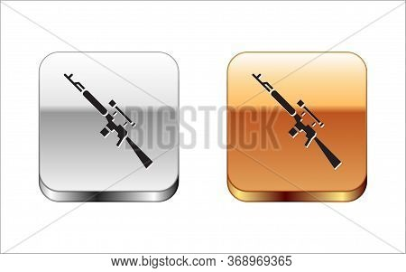 Black Sniper Rifle With Scope Icon Isolated On White Background. Silver-gold Square Button. Vector I