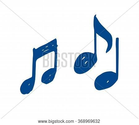 Notes - Sketch On A White Background, Icon For Web Design. Music To Sing