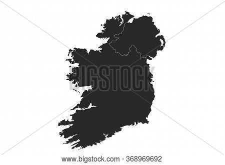 Ireland Vector Map. High Detailed Isolated Geographic Template Of Ireland And Northern Ireland