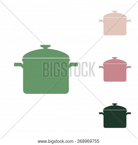 Cooking Pan Sign. Russian Green Icon With Small Jungle Green, Puce And Desert Sand Ones On White Bac