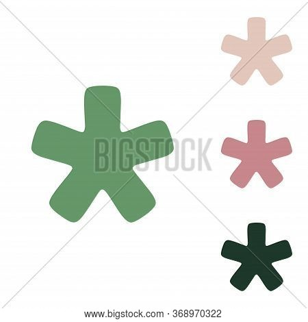 Asterisk Star Sign. Russian Green Icon With Small Jungle Green, Puce And Desert Sand Ones On White B