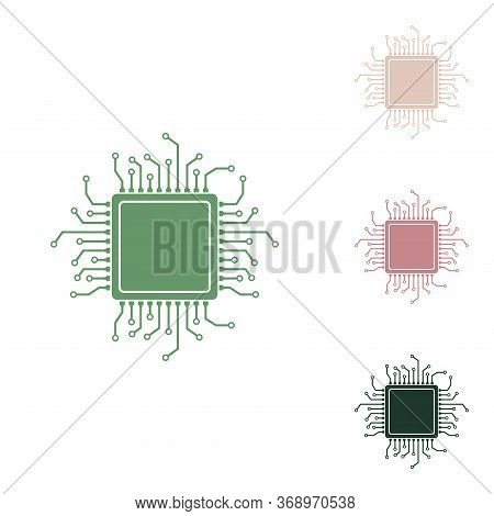 Cpu Microprocessor Illustration. Russian Green Icon With Small Jungle Green, Puce And Desert Sand On