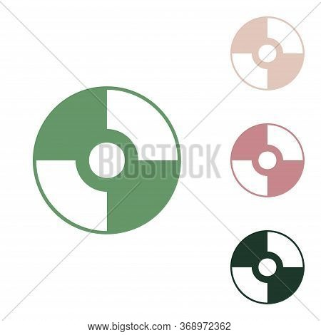 Cd Or Dvd Sign. Russian Green Icon With Small Jungle Green, Puce And Desert Sand Ones On White Backg