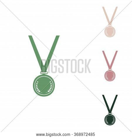 Medal Simple Sign. Russian Green Icon With Small Jungle Green, Puce And Desert Sand Ones On White Ba