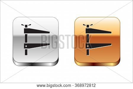 Black Clamp Tool Icon Isolated On White Background. Locksmith Tool. Silver-gold Square Button. Vecto