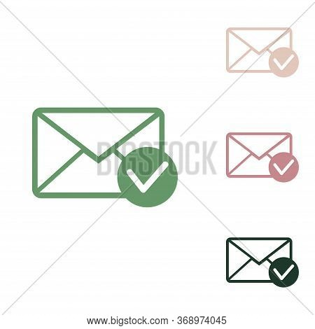 Mail Sign Illustration With Allow Mark. Russian Green Icon With Small Jungle Green, Puce And Desert