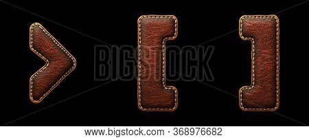 Set of symbols right angle bracket, left and right bracket made of leather. 3D render font with skin texture isolated on black background. 3d rendering