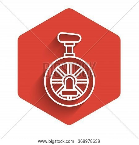 White Line Unicycle Or One Wheel Bicycle Icon Isolated With Long Shadow. Monowheel Bicycle. Red Hexa