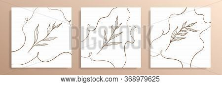 Three Trendy Covers For Social Networks.  Different Design Of Trendy Branches.line Drawing. Graphic