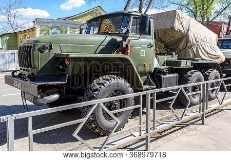 Samara, Russia - May 4, 2019: Bm-21 Grad 122-mm Multiple Rocket Launcher On Ural-375d Chassis At The