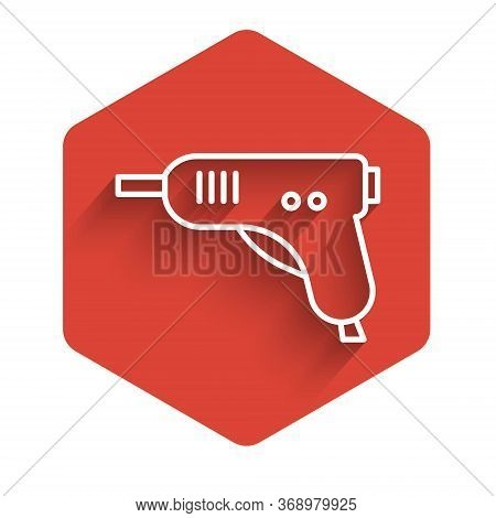 White Line Electric Hot Glue Gun Icon Isolated With Long Shadow. Hot Pistol Glue. Hot Repair Work Ap