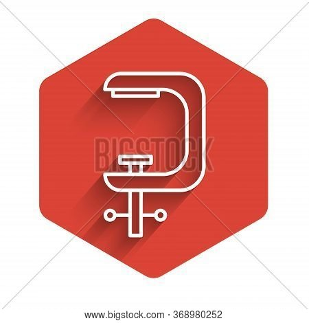 White Line Clamp And Screw Tool Icon Isolated With Long Shadow. Locksmith Tool. Red Hexagon Button.