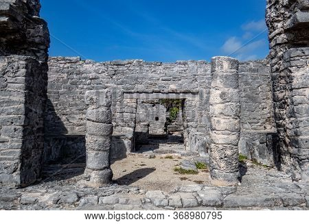 Old Stone Entrance Of A Building In Ruins Situated In The Ancient Mayan City Of Tulum In Quintana Ro