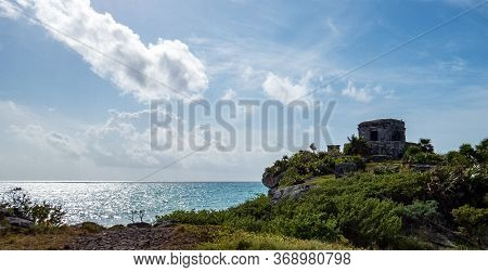 Isolated Temple Close To The Coast Situated In The Ancient Mayan City Of Tulum In Quintana Roo, Mexi