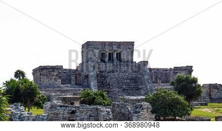 Front View Of The Highest Temple(castle) Situated In The Ancient Mayan City Of Tulum In Quintana Roo