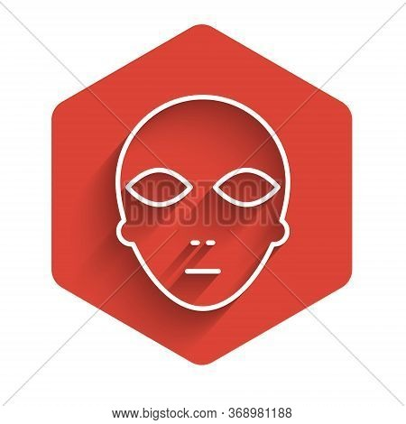 White Line Alien Icon Isolated With Long Shadow. Extraterrestrial Alien Face Or Head Symbol. Red Hex